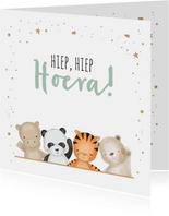 Felicitatiekaart geboorte jungle dieren met confetti