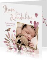 Felicitatiekaart geboorte kleindochter bloemen vogel hartjes