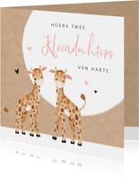 Felicitatiekaart geboorte kleindochters tweeling giraf