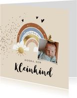 Felicitatiekaart geboorte kleinkind regenboog zon hartjes