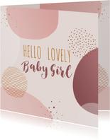 Felicitatiekaart geboorte meisje cirkels en stippen