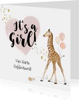 Felicitatiekaart geboorte meisje giraf hart goud spetters