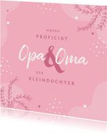 Felicitatiekaart geboorte meisje kleindochter roze hartjes