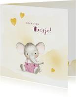 Felicitatiekaart geboorte meisje met olifantje en hartjes