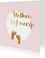felicitatiekaart geboorte meisje met voetjes
