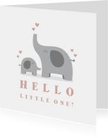 Felicitatiekaart geboorte meisje olifantjes met hartjes