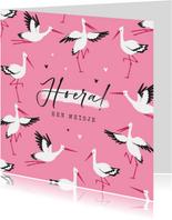 Felicitatiekaart geboorte meisje ooievaar hartjes roze