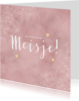 Felicitatiekaart geboorte meisje, roze met gouden hartjes