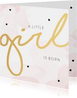 Felicitatiekaart geboorte meisje waterverf roze