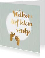 felicitatiekaart geboorte met gouden voetjes