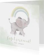 Felicitatiekaart geboorte met olifantje en regenboog zoon