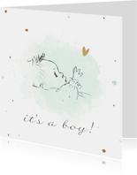 Felicitatiekaart geboorte met pentekening baby met waterverf