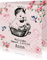 Felicitatiekaart geboorte met vintage baby in badje met naam