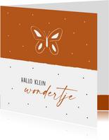 Felicitatiekaart geboorte met vlinder