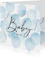 Felicitatiekaart geboorte met waterverf ballonnen in blauw
