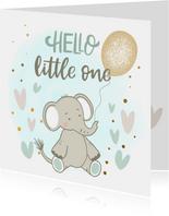Felicitatiekaart geboorte - Olifant jongen met ballon