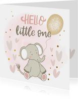 Felicitatiekaart geboorte - Olifant meisje met ballon