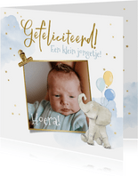 Felicitatiekaart geboorte olifant watercolour foto jongen