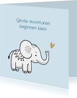 Felicitatiekaart geboorte olifantje met blauwe achtergrond