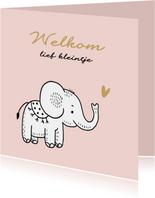Felicitatiekaart geboorte olifantje met roze achtergrond