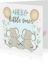 Felicitatiekaart geboorte - Olifantjes tweeling jongen