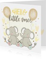 Felicitatiekaart geboorte - Olifantjes tweeling met geel