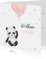 Felicitatiekaart geboorte pandabeer met ballon en confetti