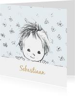 Felicitatiekaart geboorte pentekening babyhoofdje lichtblauw