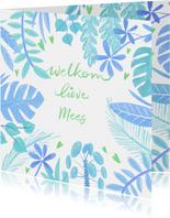 Felicitatiekaart geboorte planten blauw