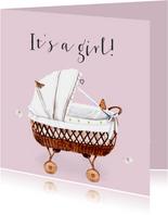 Felicitatiekaart Geboorte Roze wieg
