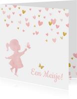Felicitatiekaart geboorte silhouet meisje met hartjes