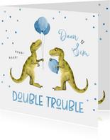 Felicitatiekaart geboorte tweeling dinosaurus double trouble