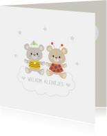 Felicitatiekaarten - Felicitatiekaart geboorte tweeling dochter zoon