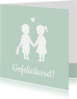 Felicitatiekaart geboorte tweeling silhouet jongen en meisje