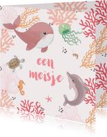 Felicitatiekaart geboorte zeedieren koraal roze