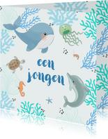 Felicitatiekaart geboorte - Zeedieren met koraal in blauw