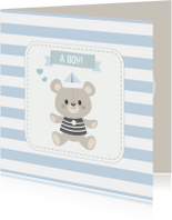 Felicitatiekaarten - Felicitatiekaart geboorte zoon beer