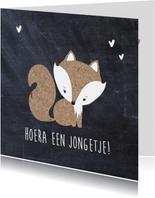 Felicitatiekaart geboorte zoon krijtbord vos
