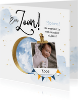 Felicitatiekaart geboorte zoon maan watercolour goudlook