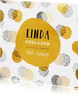 Felicitatiekaart geslaagd met gouden confetti