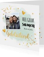 Felicitatiekaart getrouwd foto waterverf mintgroen goudlook