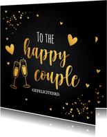 Felicitatiekaart getrouwd zwart confetti goudlook