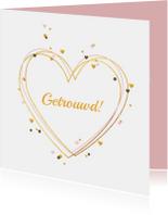 Felicitatiekaart gouden harten met confetti