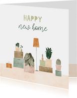 Felicitatiekaart happy new home met plantjes en verhuisdozen