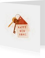 Felicitatiekaart happy new home met sleutelbos