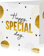 Felicitatiekaart Happy special day in goud kleur