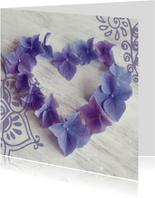 Felicitatiekaarten - felicitatiekaart hart hortensiabloemen