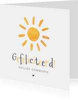 Felicitatiekaart Heilige Communie zon zonnestralen vrolijk