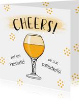 Felicitatiekaart hip met bier en confetti