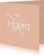 Felicitatiekaart - Hoera - flowers